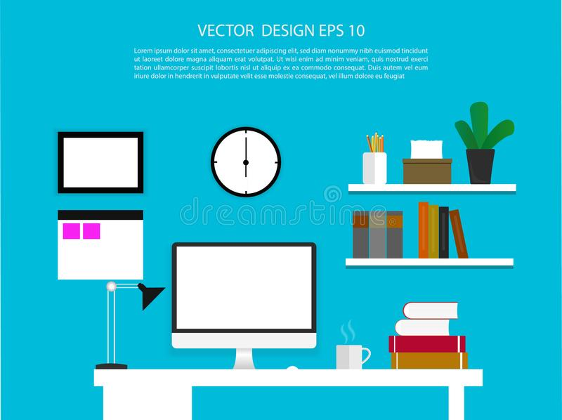 Office interior with desktop display with interface icons. Illustration royalty free illustration