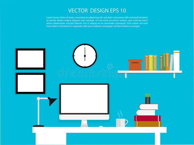 Office interior with desktop display with interface icons. Illustration stock illustration
