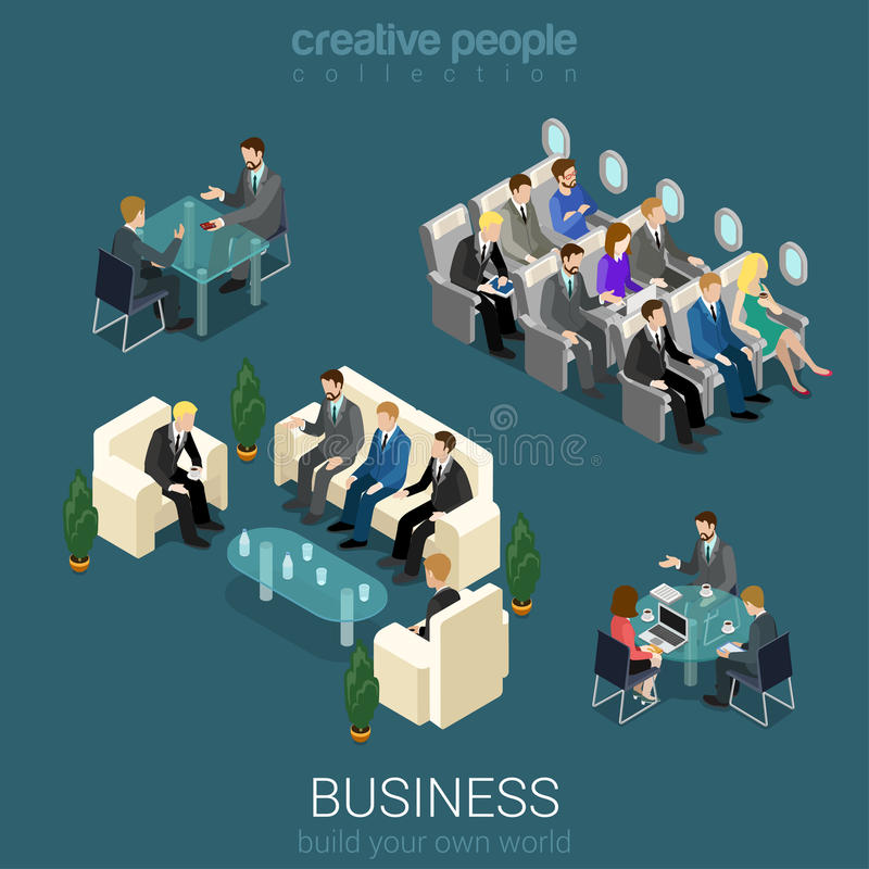 Office interior elements and people stock illustration
