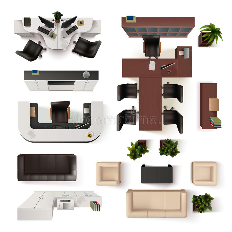 Office Interior Elements Top View Set stock illustration