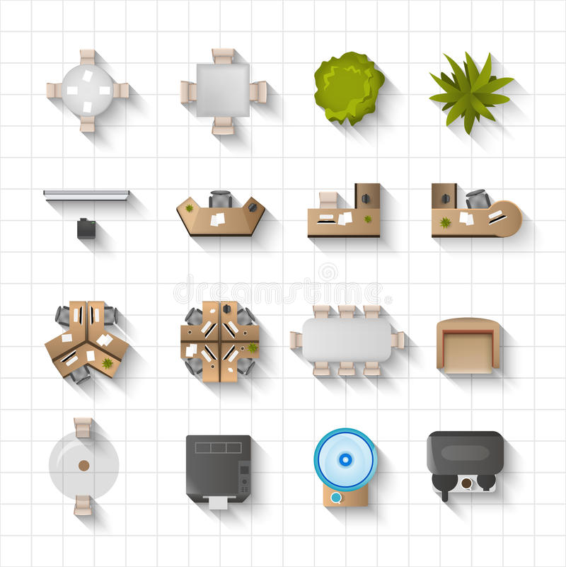 Download Office Interior Icons Top View Stock Vector