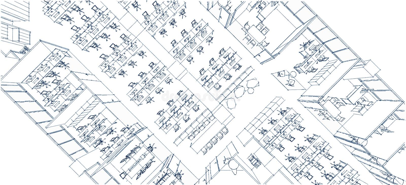 Office Interior Isometric Sketch Line Stock Illustration - Image
