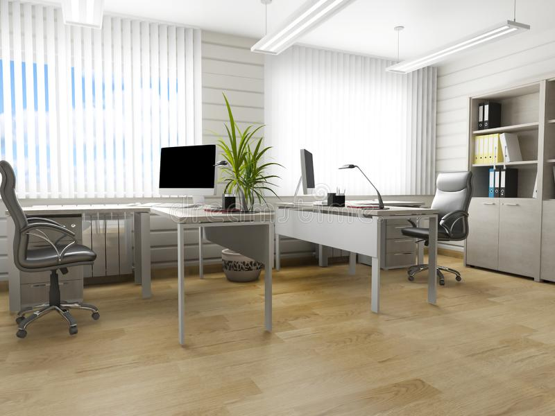 Office interior in modern style, 3d rendering. Office interior in modern style 3d rendering vector illustration
