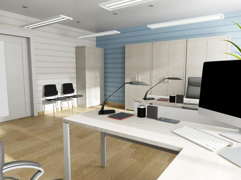 Office interior in modern style, 3d rendering. Office interior in modern style 3d rendering stock illustration
