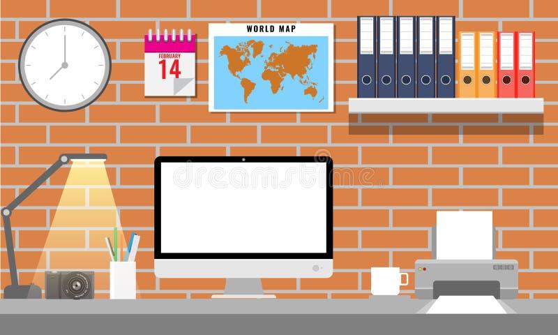 Office interior with office equipments. Office monitor, printer, folder world map etc. Vector illustration. stock illustration