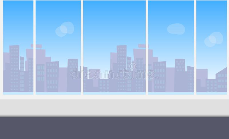 Office interior with panoramic window. Empty modern office interior with panoramic window with city skyline view. Vector concept illustration stock illustration