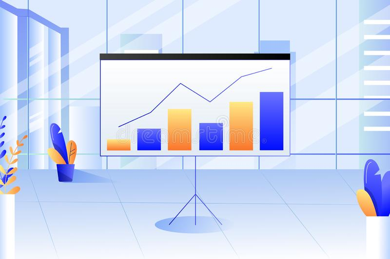 Office interior. Presentation report with diagram, charts. Business strategy, financial analysis. Vector illustration. Modern corporate office interior royalty free illustration