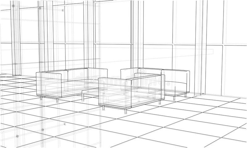 Office interior sketch. Vector. Interior sketch drawing perspective of space office. Vector rendering of 3d. Wire-frame style. The layers of visible and vector illustration