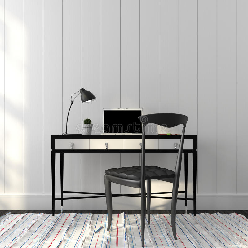 Office interior in a stylish black and white colors. Elegant black chair and table in white interior royalty free stock photography