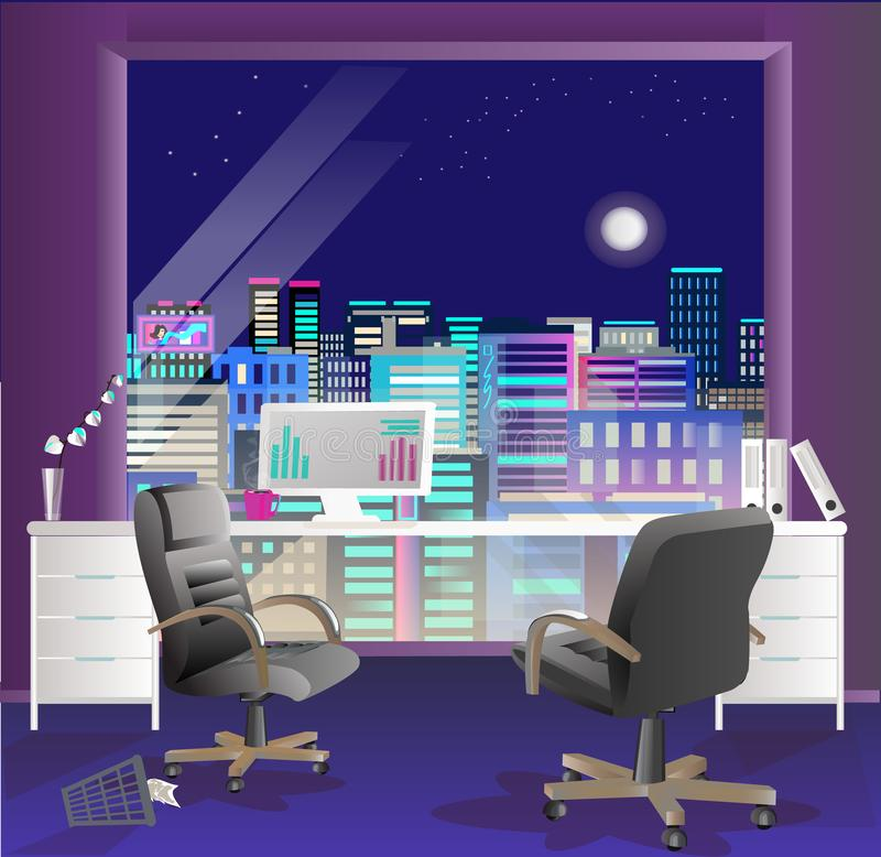 Office interior vector business background, desks chairs, computer desk, desktop royalty free illustration