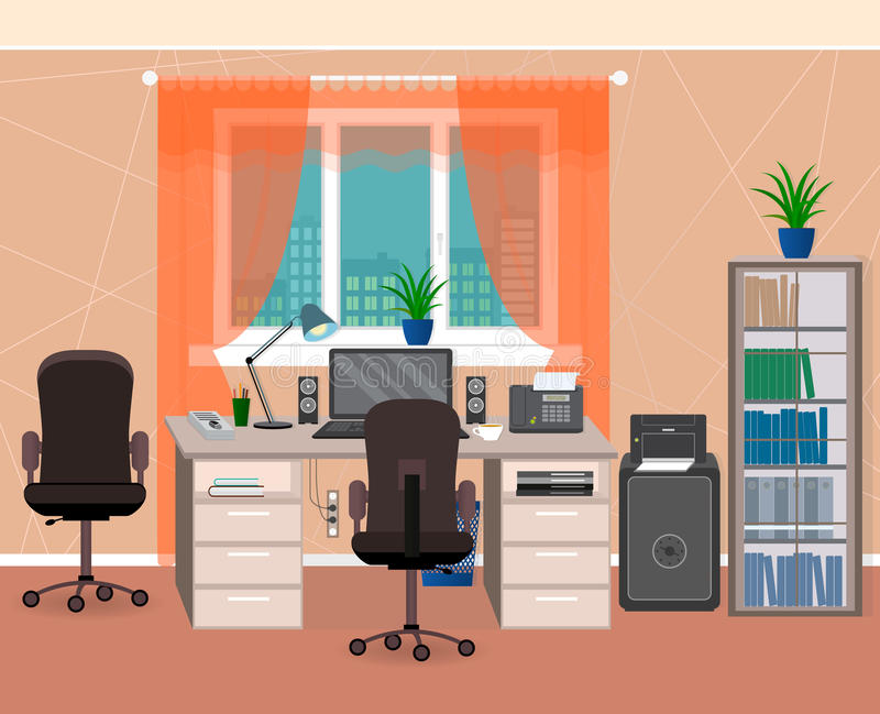 Office interior workspace with furniture and stationery. Workplace organization in home environment. Flat style vector illustration stock illustration