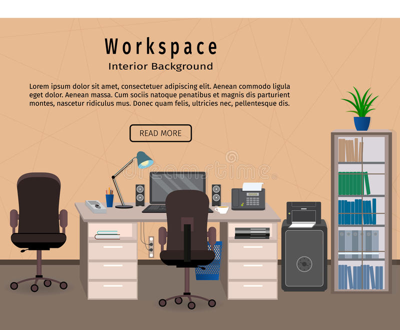 download office interior workspace workplace organization concept web design banner stock vector