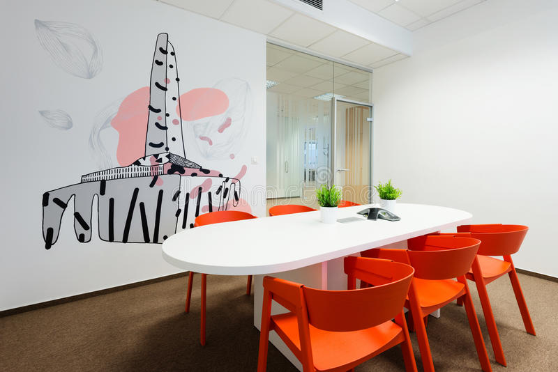 Office interiors created by Kivvi architects, Bratislava, Slovakia. BRATISLAVA, SLOVAKIA - FEB 18, 2016: Modern attractive design of office interiors in IT stock photo