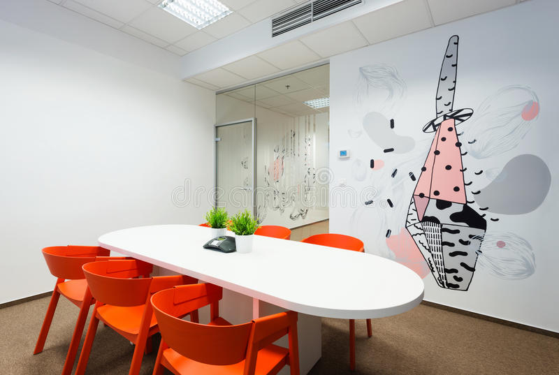 Office interiors created by Kivvi architects, Bratislava, Slovakia. BRATISLAVA, SLOVAKIA - FEB 18, 2016: Modern attractive design of office interiors in IT stock images