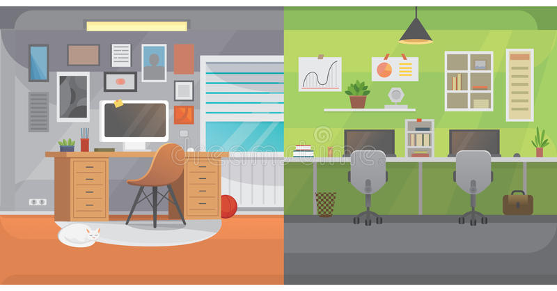 Office interiors horizontal banners. Bussines workplace with computer and table. Flat modern design royalty free illustration