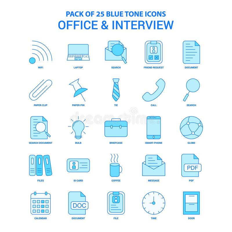 Office and Interview Blue Tone Icon Pack - 25 Icon Sets. This Vector EPS 10 illustration is best for print media, web design, application design user stock illustration