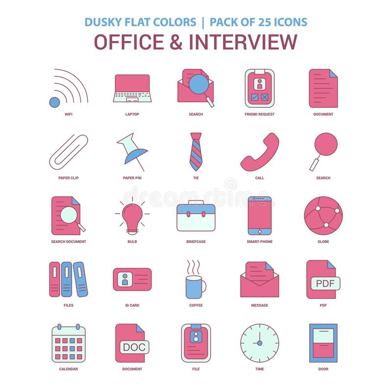 Office and Interview icon Dusky Flat color - Vintage 25 Icon Pac. K - This Vector EPS 10 illustration is best for print media, web design, application design vector illustration