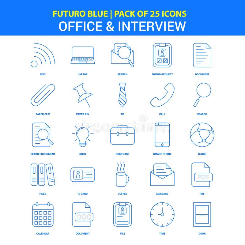 Office and Interview Icons - Futuro Blue 25 Icon pack royalty free illustration