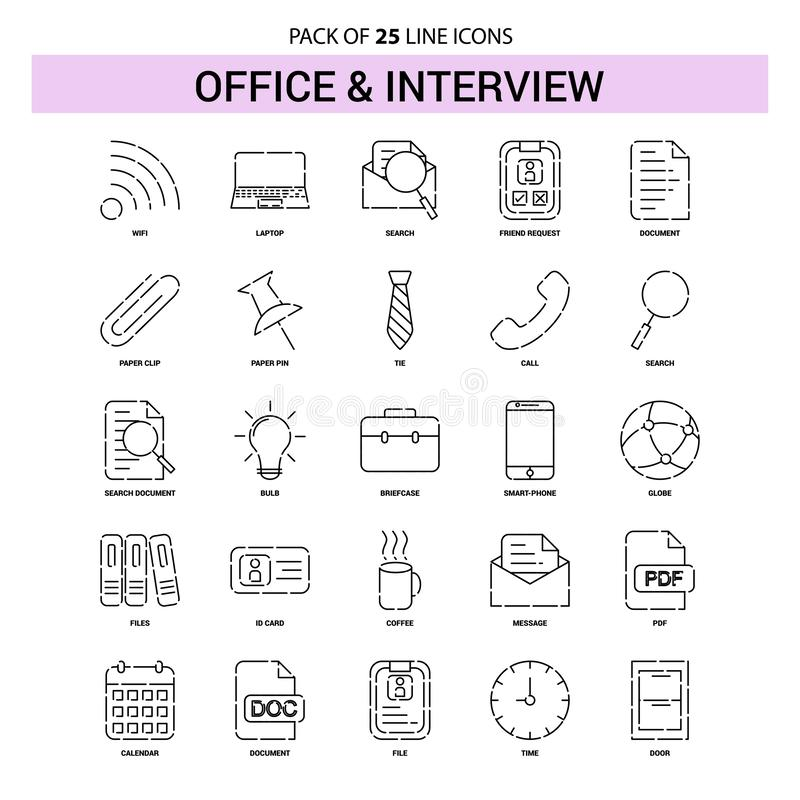 Office and Interview Line Icon Set - 25 Dashed Outline Style. This Vector EPS 10 illustration is best for print media, web design, application design user vector illustration