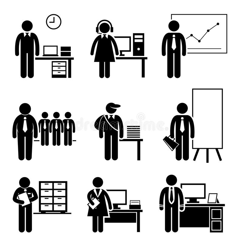 Office Jobs Occupations Careers. A set of pictograms showing the professions of people in the corporate industry