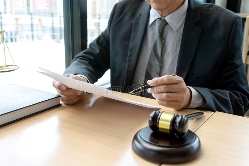 In the office of Judge or lawyer stock photo