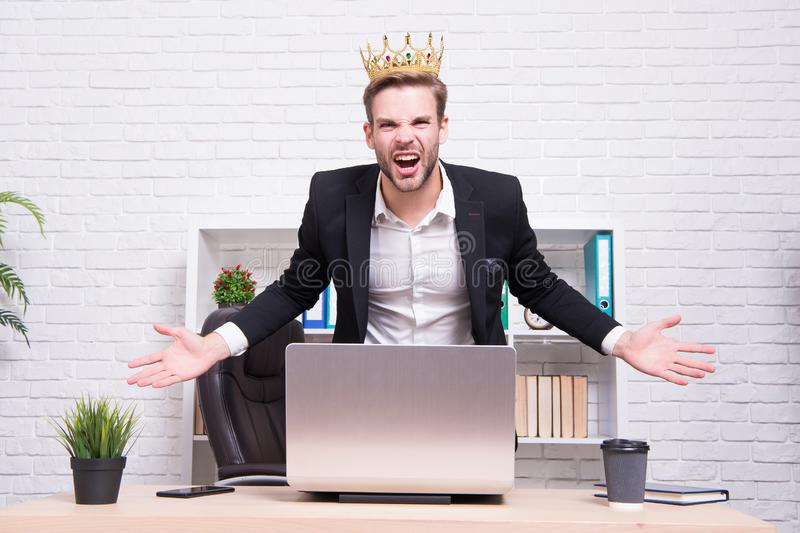 Office king. King of style. Achieving victory and success. Royal and luxury. Glory seeking man. Man representing power. And triumph. Business king. Businessman royalty free stock photo