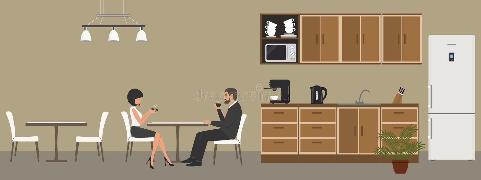 Office kitchen. Dining room in the office. Employees drink coffee at the table. Coffee break. There are kitchen cabinets, a fridge, a microwave, a kettle and a vector illustration