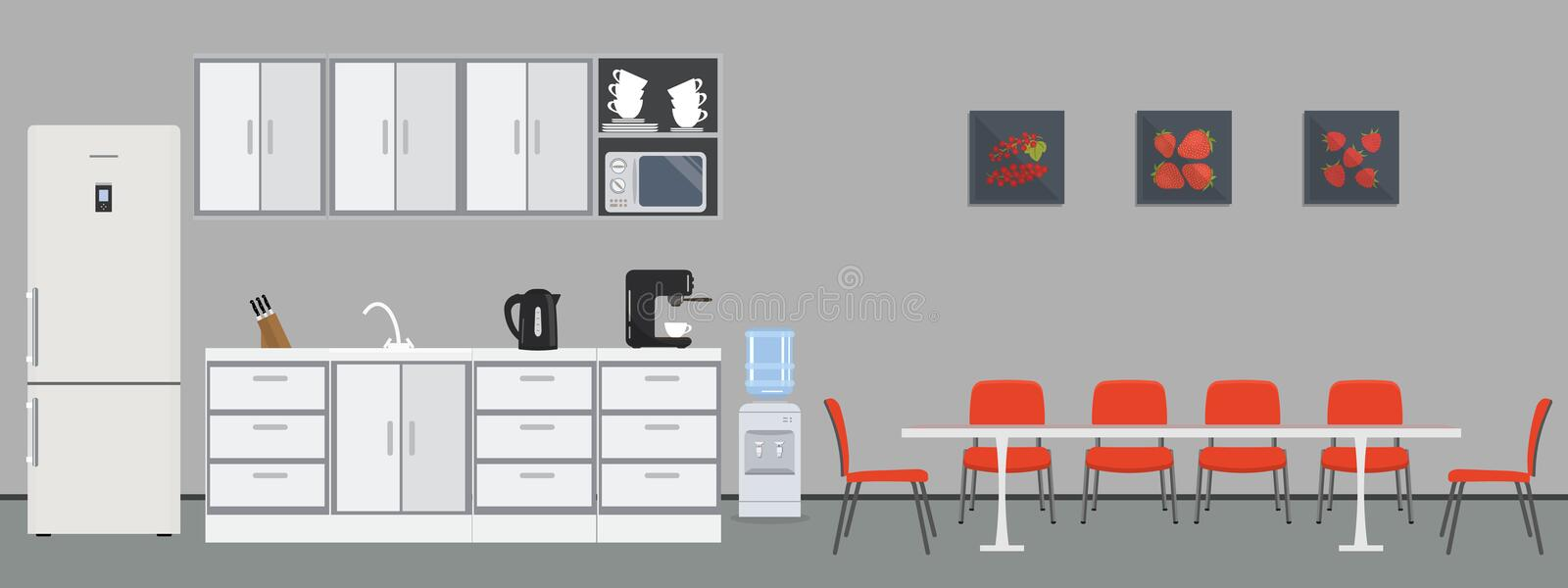 Office kitchen. Dining room in office stock illustration