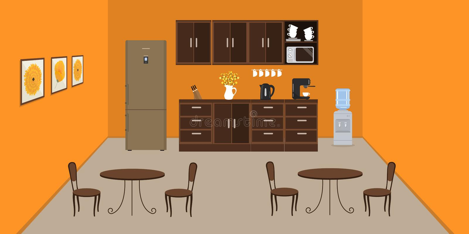 Office kitchen in orange color. Modern dining room in the office. There is a fridge, tables, chairs, a microwave, a kettle and a coffee machine in the image vector illustration