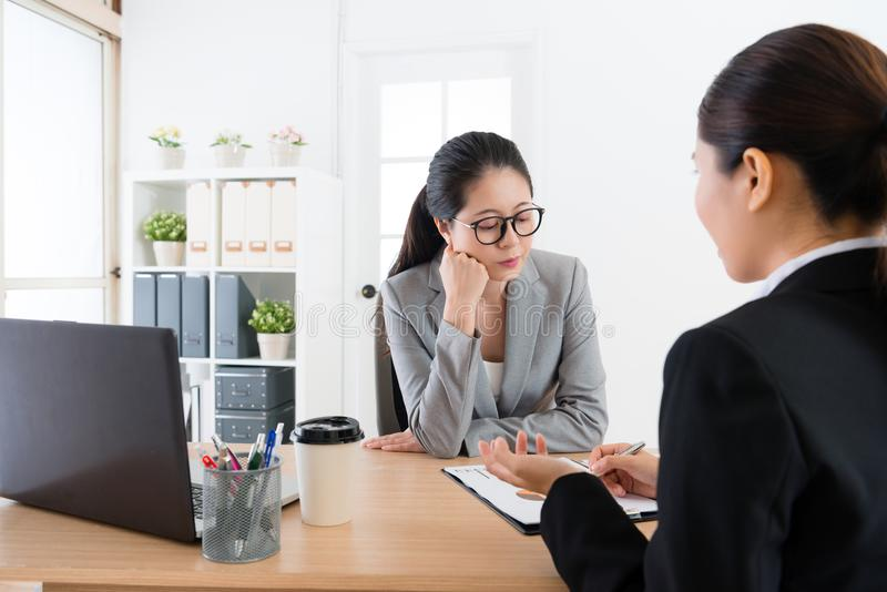 Office lady discuss works royalty free stock image