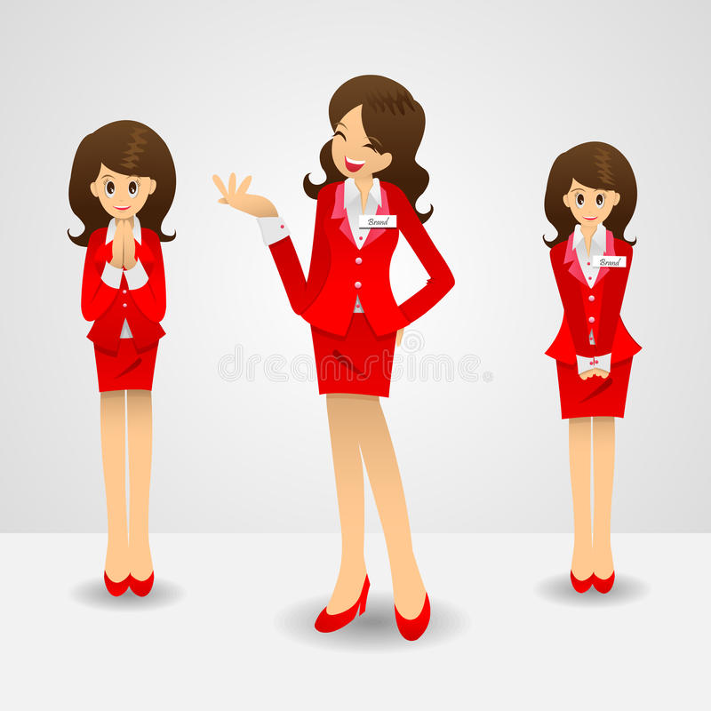 Download Office lady in red skirt stock vector. Illustration of figure - 26246947