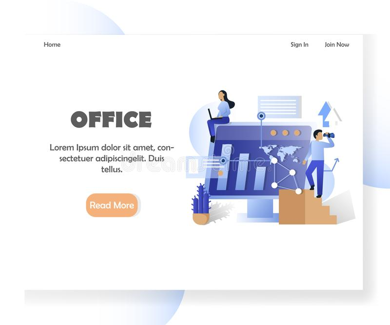 Business office vector website landing page design template. Office landing page template. Vector illustration of big computer with future technology ip vector illustration
