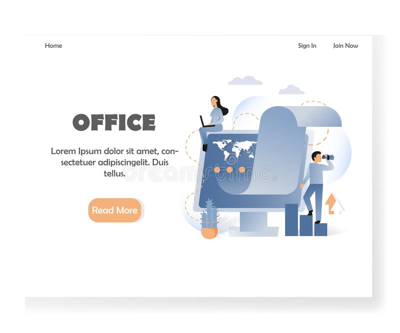 Business office vector website landing page design template. Office landing page template. Vector illustration of woman working on laptop, man looking through royalty free illustration