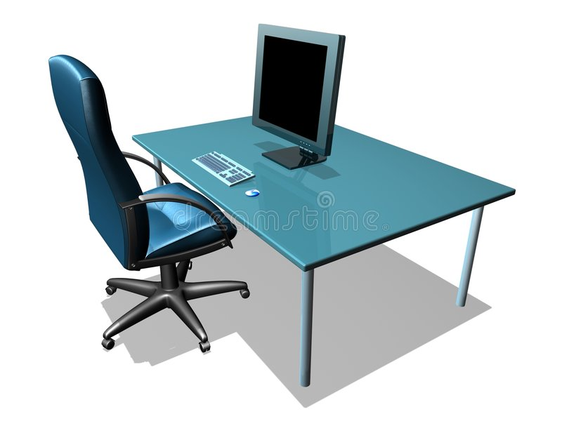 OFFICE LCD MONITOR. 3d model of lcd monitor in the office stock illustration