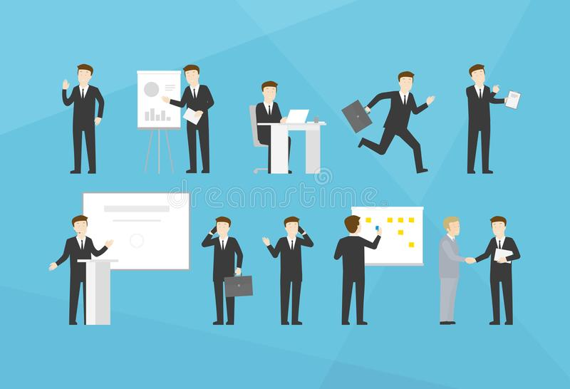 Office life business man working set royalty free stock image