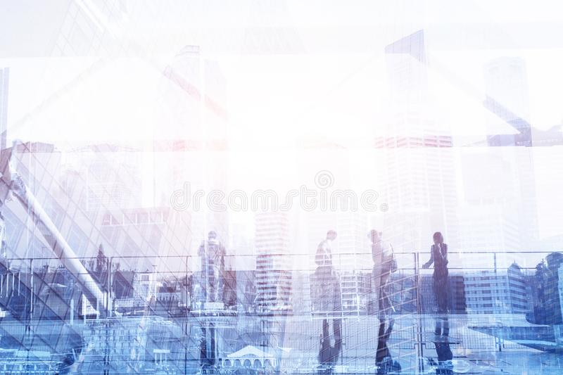 Office life, crowd of business people double exposure royalty free stock photo