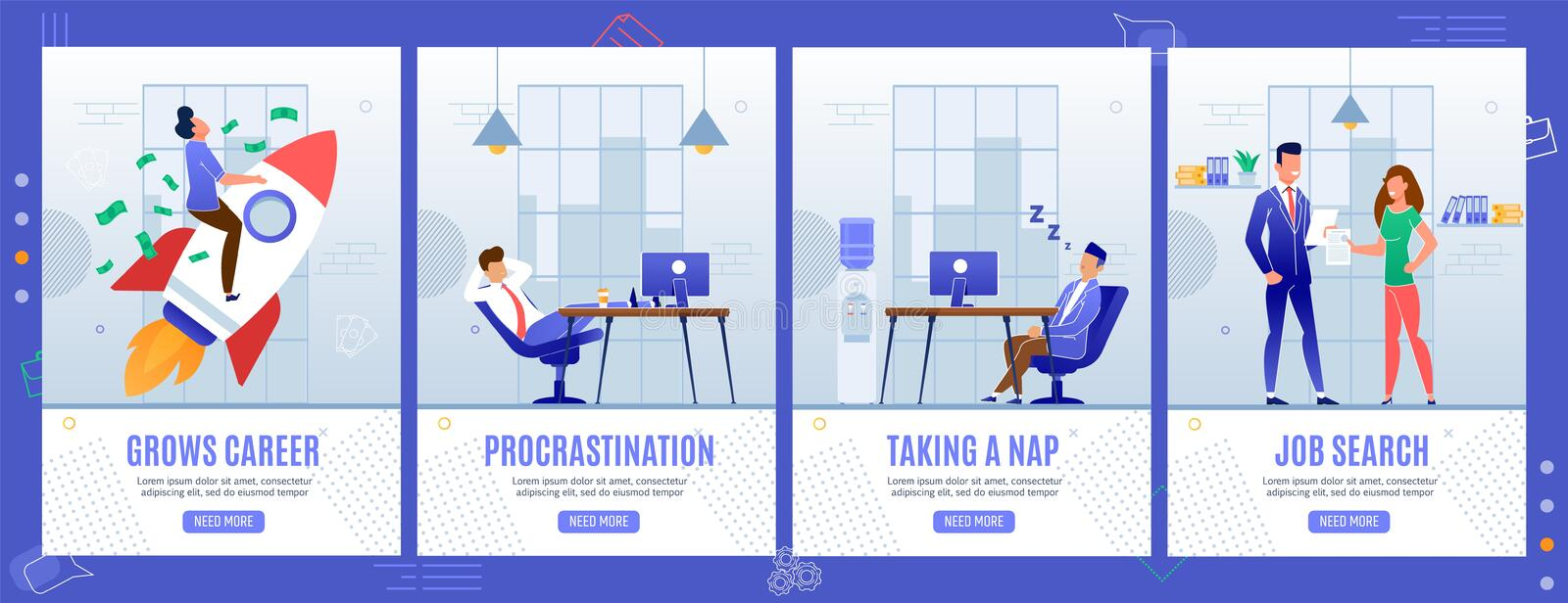 Office Life and Situation Mobile Landing Pages Set. Office Life Situations Mobile Landing Pages Set. Career Growth, Procrastination, Taking Nap, Job Search royalty free illustration