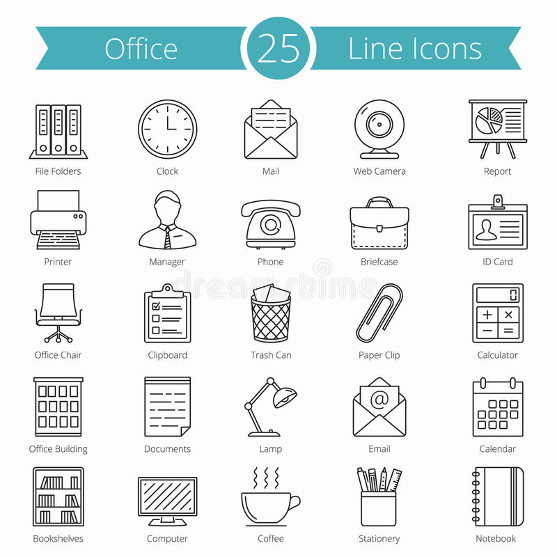 Office Line Icons royalty free illustration