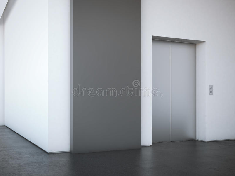 Office lobby with black advertising stand. 3d rendering. Office lobby with modern elevator and black advertising stand. 3d rendering royalty free stock images