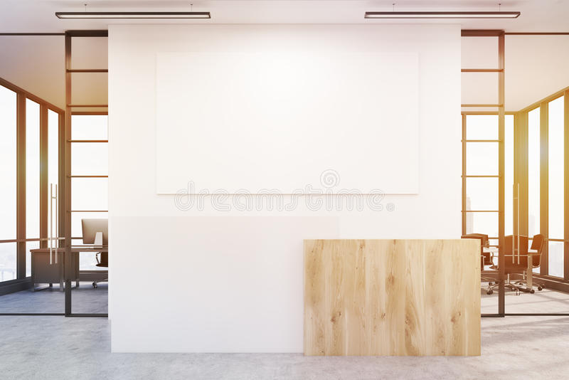 Office lobby with blank poster and two conference rooms by its s. Office lobby. Large wall is decorated with a white blank poster. There is a wooden part of royalty free illustration