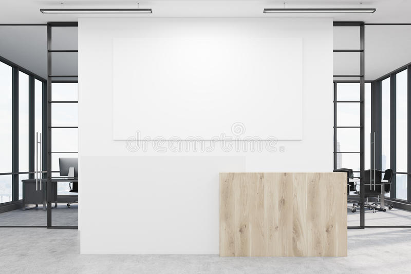 Office lobby with blank poster and two conference rooms. Office lobby. Large wall is decorated with a white blank poster. There is a wooden part of interior and vector illustration