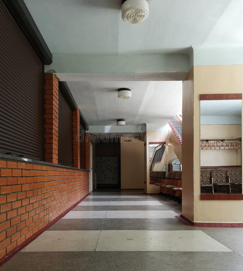 Office lobby interior with wooden walls and large white space. Concept of business building. 3d rendering. Mock up. Photo, hallway, modern, corridor, room, door royalty free stock image