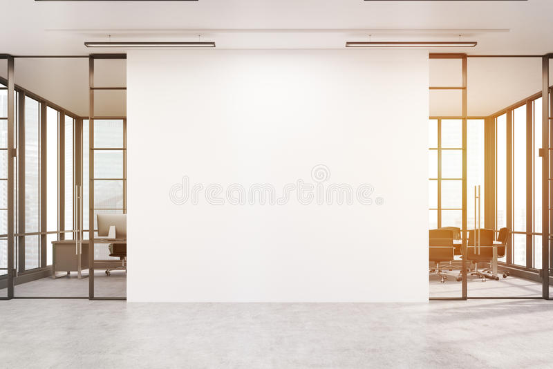 Office lobby with a large white wall and two meeting rooms, tone. Office lobby. Large white wall is in the middle with two conference rooms by both sides. 3d royalty free stock image