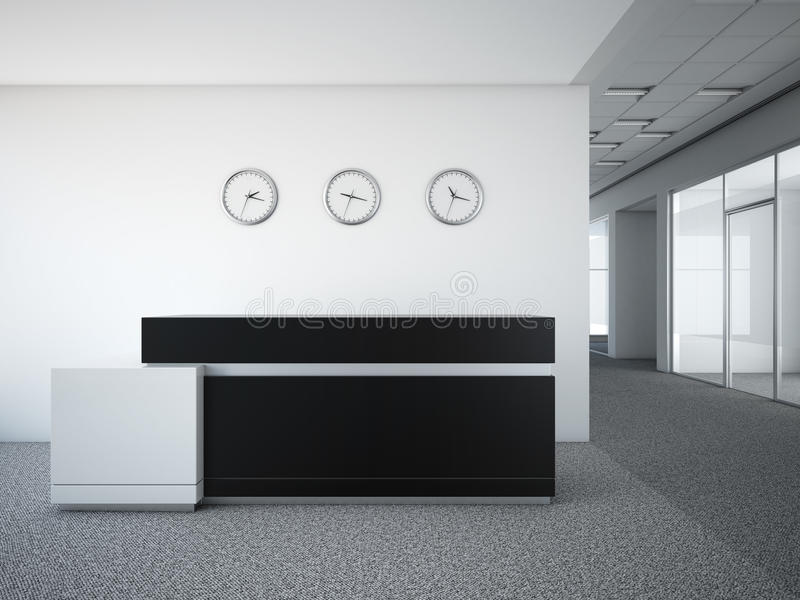 Office lobby with a reception desk stock illustration