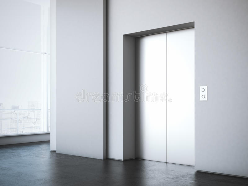 Office lobby with white advertising stand . 3d rendering. Office lobby with elevator and white advertising stand . 3d rendering royalty free stock photos