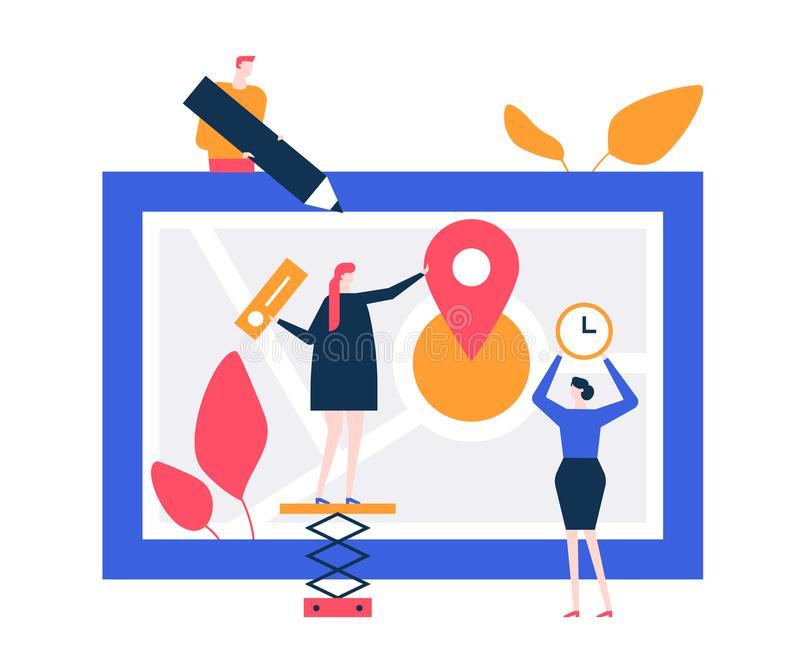 Office location - flat design style colorful illustration vector illustration