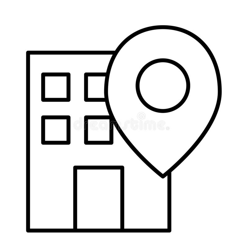 Free Office Location Pin Thin Line Icon. Building On Map Vector Illustration Isolated On White. Gps Outline Style Design Stock Photo - 133628890