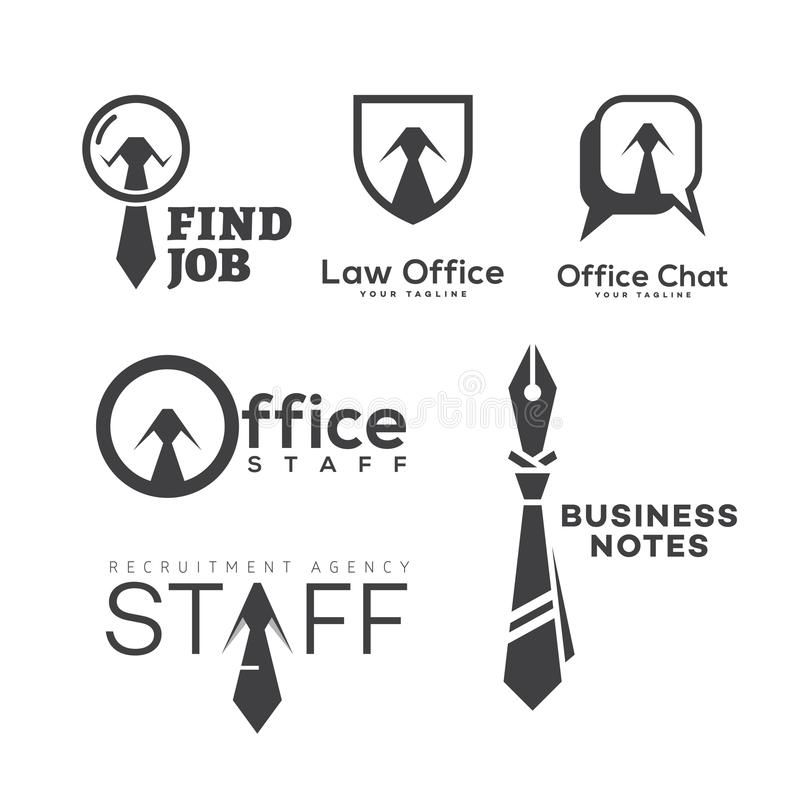 Office logo set vector illustration