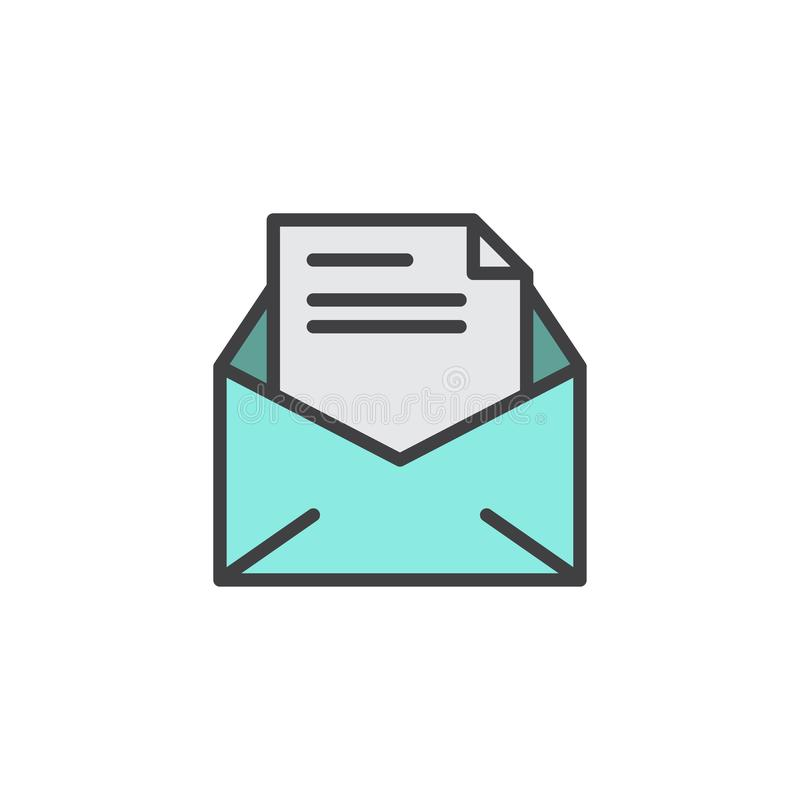 Office Mail, Open Envelope Filled Outline Icon Stock ...