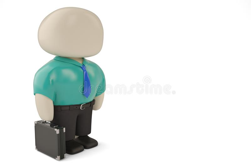 Office man character and briefcase 3d illustration. vector illustration